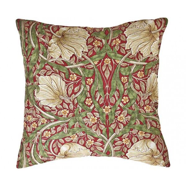 William Morris Gallery Pimpernel Red Square Filled Cushions
