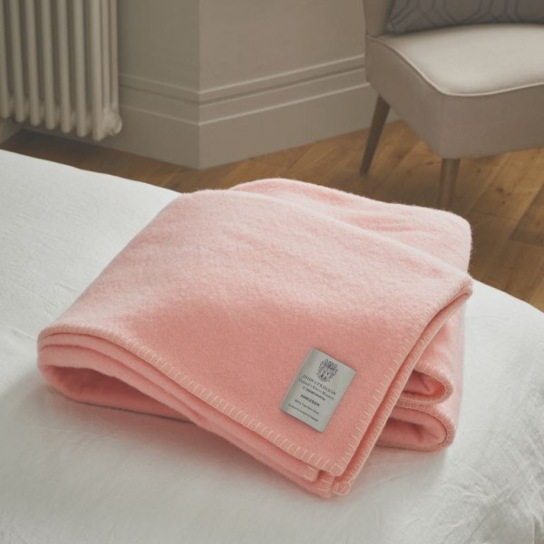 John Atkinson Harlequin Woollen Pink whipped with White Blankets