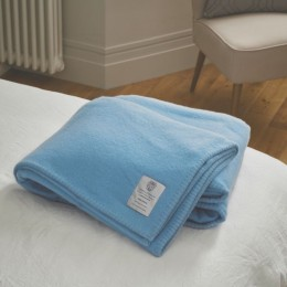 John Atkinson Harlequin Woollen Sky Blue whipped with Sky Blue Blankets