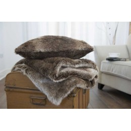 Deyongs Large Fluffy Faux Fur Nebraska Throw and Cushion