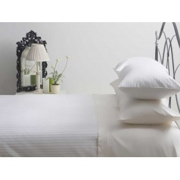 540 Thread Count Hotel Suite Satin Stripe White Flat Sheets