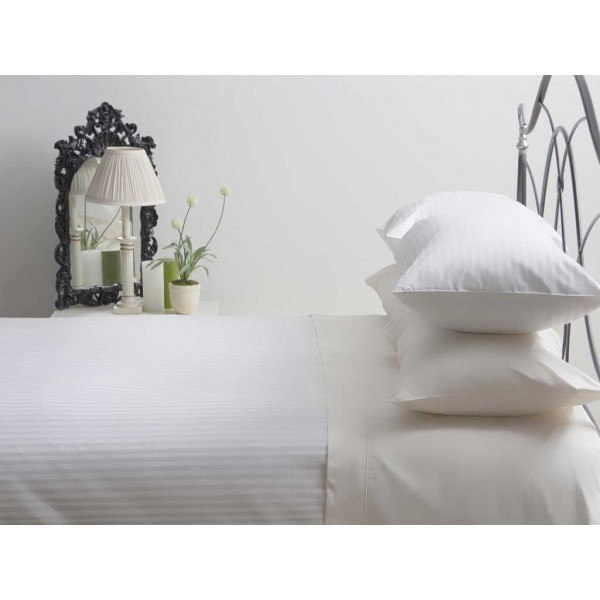 540 Thread Count Hotel Suite Satin Stripe White Fitted Sheets