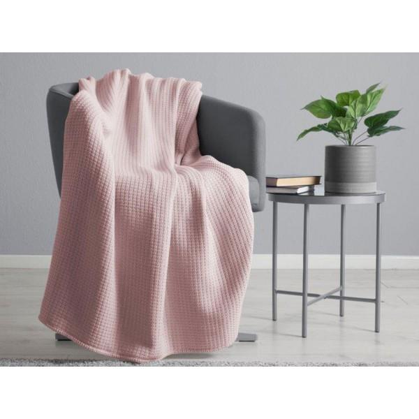 Belledorm 100% Cotton Waffle Blush Blanket