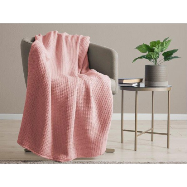 Belledorm 100% Cotton Waffle Coral Blanket