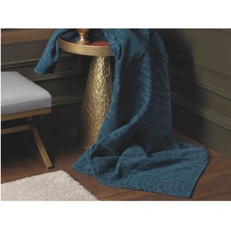 Design Port Cotton Chenille Denzel Petrol Blue Throw