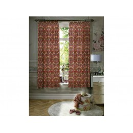 Gallery William Morris Strawberry Thief Red Minor Lined Curtains & Tiebacks