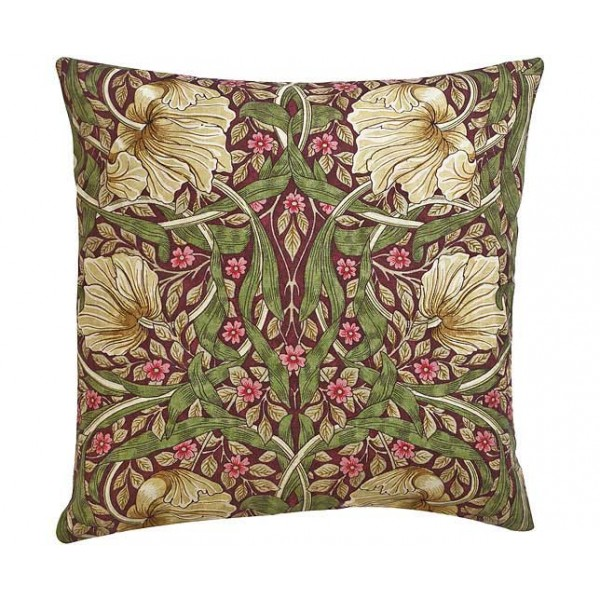 William Morris Square Filled Cushions Pimpernel Aubergine