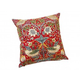 William Morris Square Filled Cushions Strawberry Thief Crimson