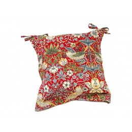 William Morris Oxford Seat Pads Strawberry Thief Crimson