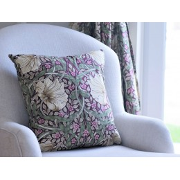 William Morris Pimpernel Aubergine Square Filled Cushions