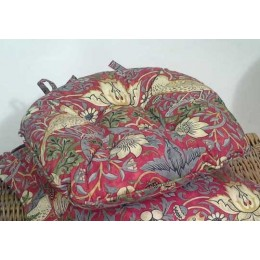 William Morris Chunky Piped Seat Pads Strawberry Thief Crimson