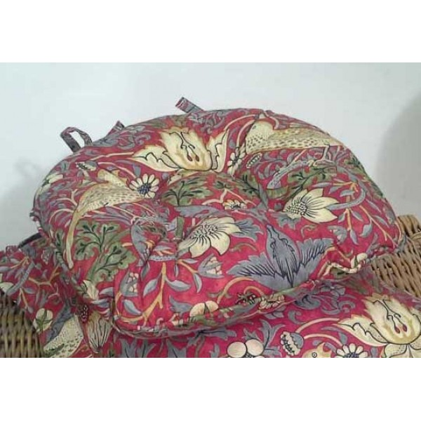 william morris /& Co Strawberry Thief Crimson//Slate Cushion Covers Piped