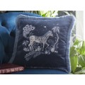 Emma J Shipley Navy Lost World Square Frilled Cushion