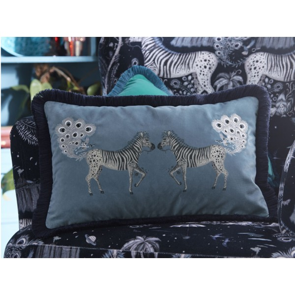Emma J Shipley Navy Lost World Boudoir Frilled Cushion