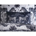 Emma J Shipley Navy Lost World Boudoir Pillowcase