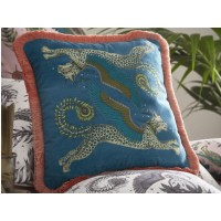 Emma J Shipley Teal Lynx Square Frilled Cushion