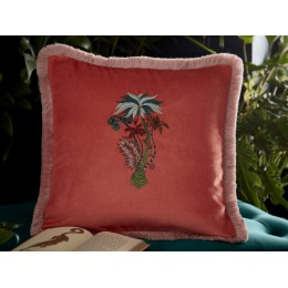 Emma J Shipley Coral Jungle Palms Square Frilled Cushion