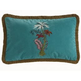 Emma J Shipley Teal Jungle Palms Rectangular Frilled Cushion