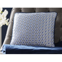 Tess Daly Midnight Square Cushion With Hexagon Design
