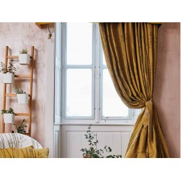 The Chateau by Angel Strawbridge Bamboo Ochre Curtains & Tiebacks