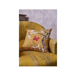 The Chateau by Angel Strawbridge Blossom and Butterfly Ochre Cushion
