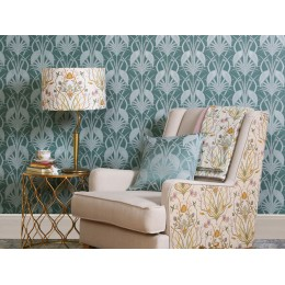The Chateau by Angel Strawbridge Deco Heron Teal 10 Metre Wallpaper