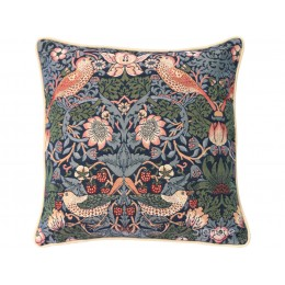 William Morris New Tapestry Filled Tapestry Strawberry Thief Blue Cushions