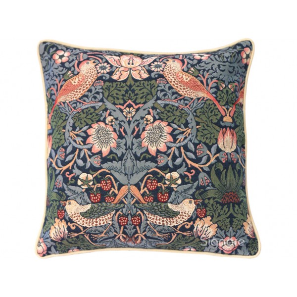 William Morris New Tapestry Strawberry Thief Blue Cushions