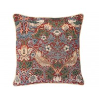 William Morris New Tapestry Filled Tapestry Strawberry Thief Red Cushions